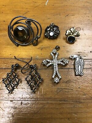 $ CDN13.20 • Buy Vintage Jewelry Sterling Silver Lot, Earrings Pendant Cuff