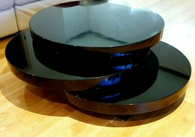 Dwell Round Rotating Coffee Table Blackgloss Lacquer • 117.99£