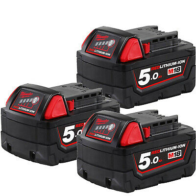 AU299 • Buy Genuine Milwaukee M18B5 3-Pack 18V 5.0Ah RED LITHIUM Batteries BATTERY AU STOCK