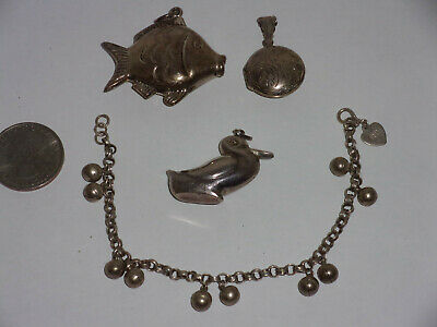 $ CDN52.84 • Buy Antique Vintage Sterling Silver Lot 98% Silver Bracelet ~ Puffy Animal ~ Locket