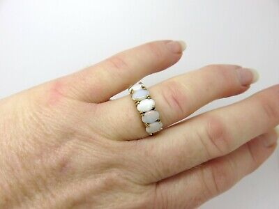 AU395 • Buy Valued $2500. Layby. 10ct Solid Cabochons White Opal Ring. Yellow Gold