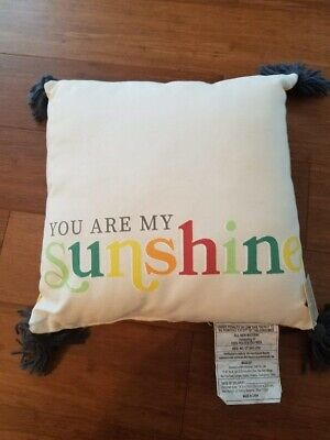 You Are My Sunshine Throw Pillow 14  X 14  Yellow Plaid Gray Tassels NEW • 7.40£