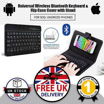 Wireless Keyboard & Stand Case For 4.5 / 6.5  Phones Tablets IPhone Samsung UK • 9.96£