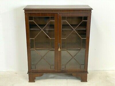 Antique Regency Style Mahogany Glazed Bookcase Display Cabinet With Key Delivery • 90£
