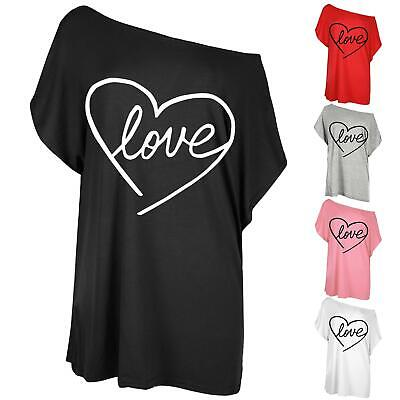 Ladies Womens Heart Love Printed Loose Fit Oversized Batwing Sleeve T-Shirt Top • 3.99£