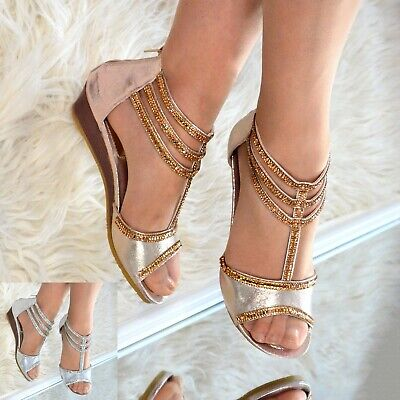 Womens Rhinestone Wedges Shoes Comfy Low Heel Sandals Open Toe Flat Sparkly Size • 16.95£