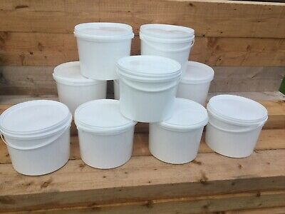 10 X New White Plastic Buckets Pails Tubs Containers With Lid Food Grade 10 Ltr • 25.20£