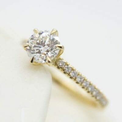 18 K Yellow Gold Diamond Cluster 1 & 2 Ct Solitaire Engagement Promise Ring • 29.99£