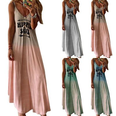 AU21.19 • Buy Plus Size Women Hippie Strappy Maxi Dress Casual Beach Summer Holiday Sundress