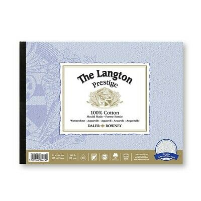 NEW Daler Rowney Langton Prestige Watercolour Paper Glued 9 X 12 In Rough • 16.95£