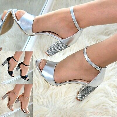 £19.95 • Buy Ladies Metallic High Heel Block Sandals Shoes Ankle Strap Evening Party Size