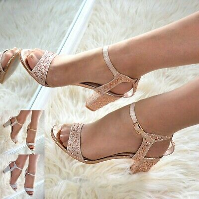 £18.95 • Buy Ladies Rhinestone Sandals Mid Block Heel Evening Shoes Strappy Sparkly Size 3-8