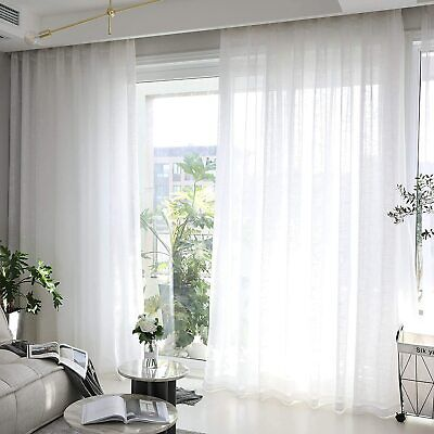 £14.99 • Buy Brilliant White Sheer Voile Slot Top Curtain Panel Sold Single Or Pairs 4 Drops