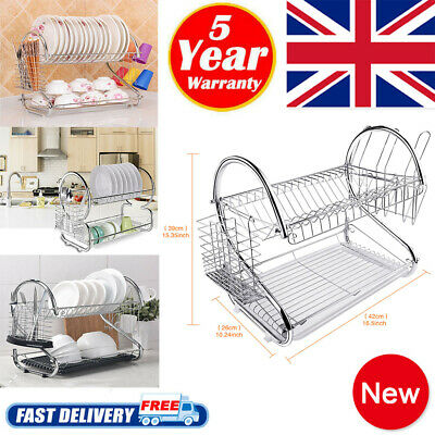 Dish Drainer 2 Tiers Stainless Steel Kitchen Washing Up Rack Holder Drip Tray FA • 10.99£