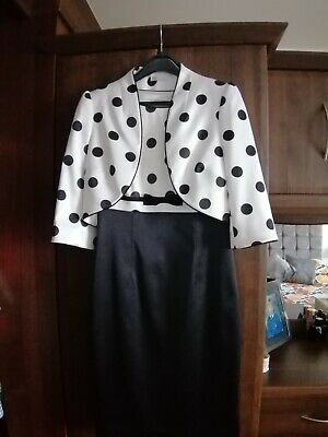 Bertex Ladies Dress And Jacket Black And White Size 8..10 • 10£