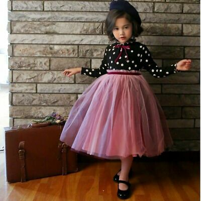 Polka Dots Pattern Long Sleeves O Neck Lace Ball Gown Mid Calf Dresses For Girls • 16.12£