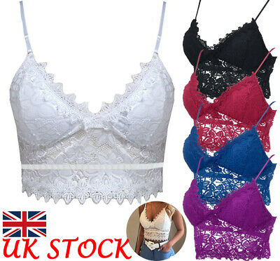 Womens Backless Lace Floral Bralette Crop Top Padded Bra Bustier Cami Vest Tank • 6.47£