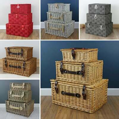 Wicker Gift Hamper Collection Lidded Storage Basket Woven Present Box Home • 58£