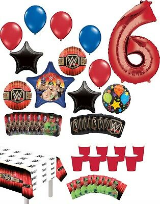 WWE 6th Birthday Party Supplies 8 Guest Table Decor And Balloon Bouquet Decor... • 31.83£