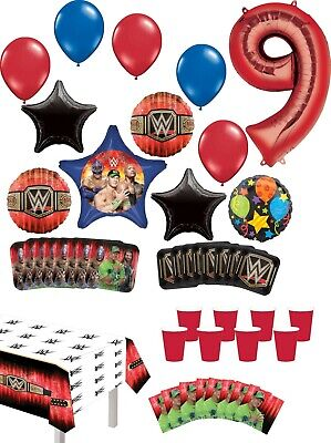 WWE 9th Birthday Party Supplies 8 Guest Table Decor And Balloon Bouquet Decor... • 32.54£