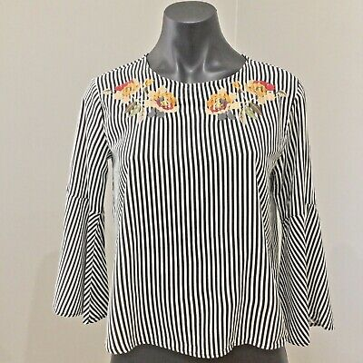 AU28 • Buy Pull And Bear Top Womens 8 Striped Embroidered Detail Bell Sleeves EUC
