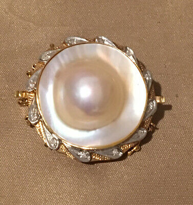 $1166 • Buy Vintage Solid 14k Mabe Pearl And Diamond Shortener/Clasp