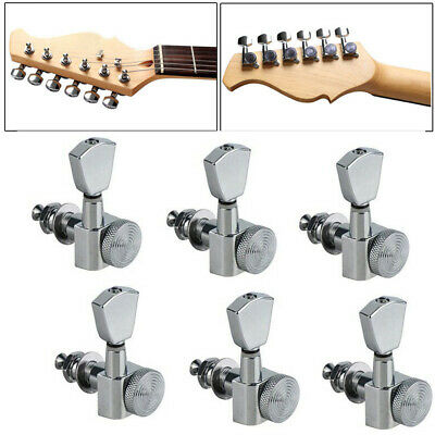 $ CDN23.74 • Buy Guitar String Inline Tuning Pegs Locking Tuners Keys Machine Heads 6R Chrome