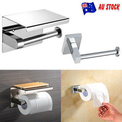 AU20.69 • Buy Stainless Steel Toilet Paper Roll Holder Tissue Bathroom Wall Mount Storage Hook