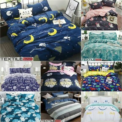 Duvet Cover With Pillow Case Quilt Cover Bedding Set Single Double King All Size • 10.95£