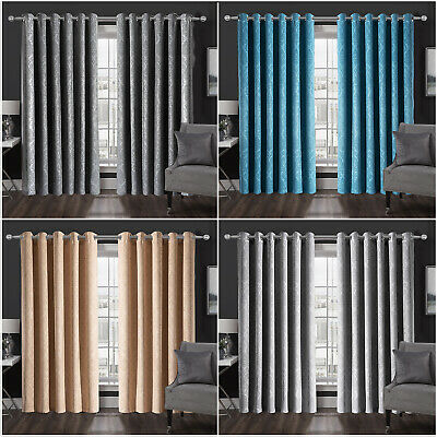 Thick Thermal Blackout Ready Made Eyelet Ring Top Pair Curtains + Free Tie Backs • 32.95£
