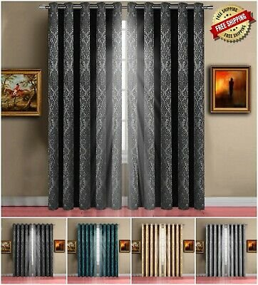 Thick Thermal Blackout Ready Made Eyelet Ring Top Pair Curtains + Free Tie Backs • 19.95£