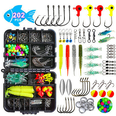 AU25.49 • Buy 202pcs Fishing Accessories Kit Soft Lures Jig Hooks Bobbers Gear With Tackle Box