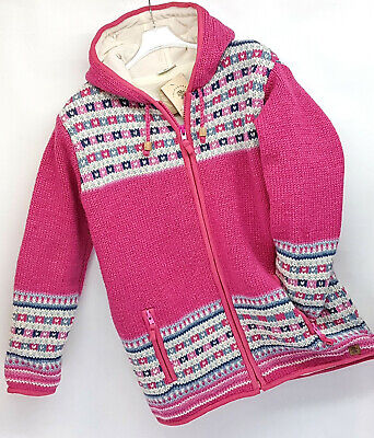 Pachamama 100% Wool Chunky Knit Pink Multi Fleece Lined Hooded Jacket Patterned  • 70£