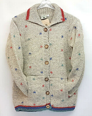 Pachamama 100% Wool Chunky Knit Button Jacket Off White Multi Colour Ditsy Stars • 65£