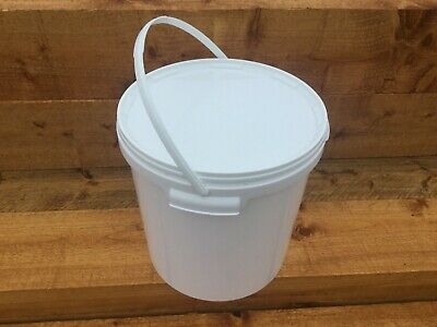 New White Plastic Bucket Container Pail Tub Lid 20L With Side Handles Food Grade • 9.95£