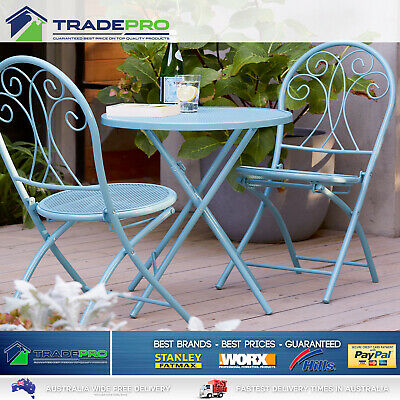 AU199 • Buy Outdoor Setting 3pc Table Chairs Cafe Patio Garden Set Foldable Steel Seat Blue