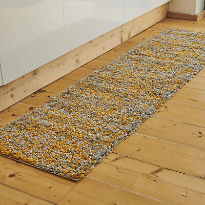 £13.95 • Buy Long Mustard Shaggy Runner Rugs Warm Thick Non Shed Fluffy Fleck Living Room Rug