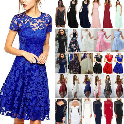 AU18.49 • Buy Women Lace Formal Dress Wedding Evening Ball Gown Party Cocktail Long Mini Dress