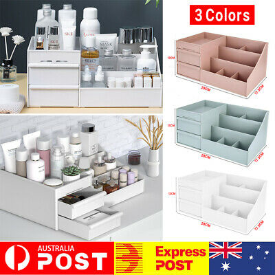 AU14.99 • Buy Makeup Organiser Storage Box Cosmetic Jewelry Tissue Cabinet With 2 Drawer Case