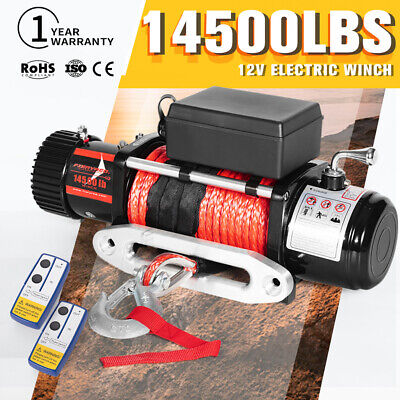 AU399.99 • Buy FIERYRED Wireless 12V Electric Winch 14500lbs Synthetic Rope 4X4 4WD 9.5MM X 26M