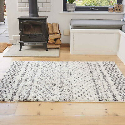 Cosy Cream Shaggy Rugs Thick Aztec Non Shed Cheap Living Room Rug Hall Runners • 17.95£