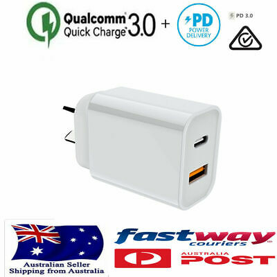 AU19.95 • Buy Qualcomm QC3.0 18W PD Fast Charging Charger  USB + Type C Wall Plug Adapter  I12