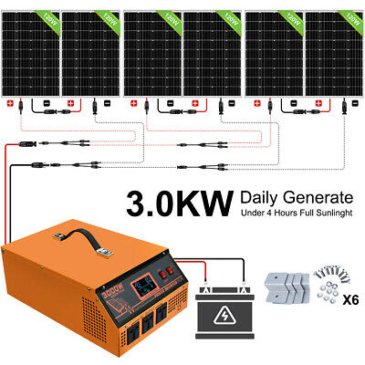 £1000.49 • Buy 720W Solar Panel System 3KW 24V ALL-IN-ONE Solar Charge Controller Inverter