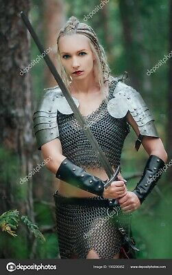 Mild Steel Chainmail Bikini Girl Clothing Viking Top Bra + Skirt Sexy Style • 52.20£