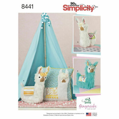 SIMPLICITY Sewing Patterns~8441 Craft Stuffed Llama Animals And Pillows One Size • 7.27£