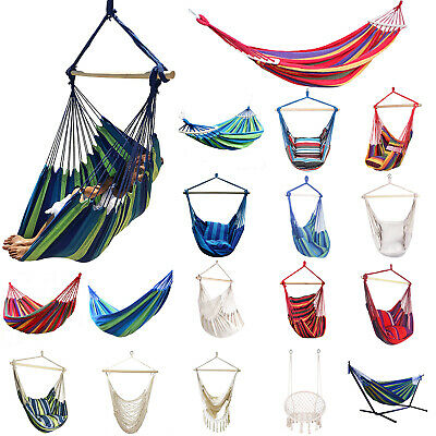 Portable Hammock Hanging Rope Chair Swing Seat Outdoor Indoor Patio Camping Bed • 19.58£