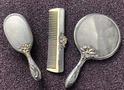 Antique Vintage 3 Piece Heavy (1052g) Silver Plated? Vanity Dressing Table Set • 19.99£