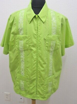£17.39 • Buy Men XL The Geniune Haband Guayabera Embroidered Green Casual/dress Shirt #1726