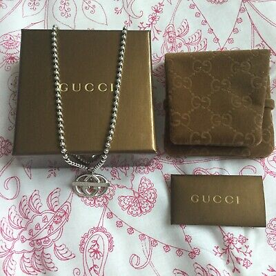 £290 • Buy Genuine Gucci Sterling Silver Double   G Necklace Sold Out RARE
