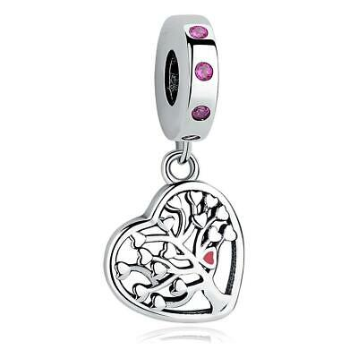 AU28 • Buy Family Tree Love Heart S925 Sterling Silver Charm Pendant By Charm Heaven